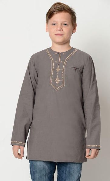 Embroidered Cotton boys Tunic_Light Grey_Front_View