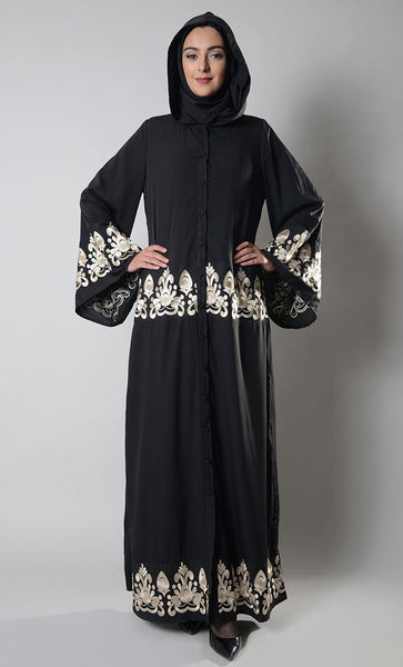 Hooded Button Down Embroidered Abaya_Black_Front_View