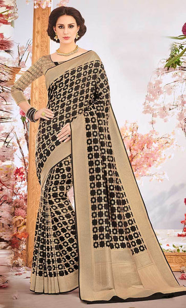 Check design Jacquard Weaving Designer saree_Front_View
