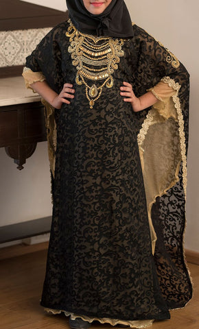 Black and Beige Girls Kaftan-Final Sale_Front_View