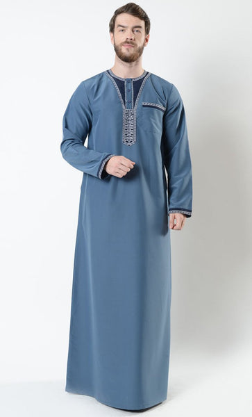 Mounir Men's Moroccan Embroidered Thobe_Black_Front_View