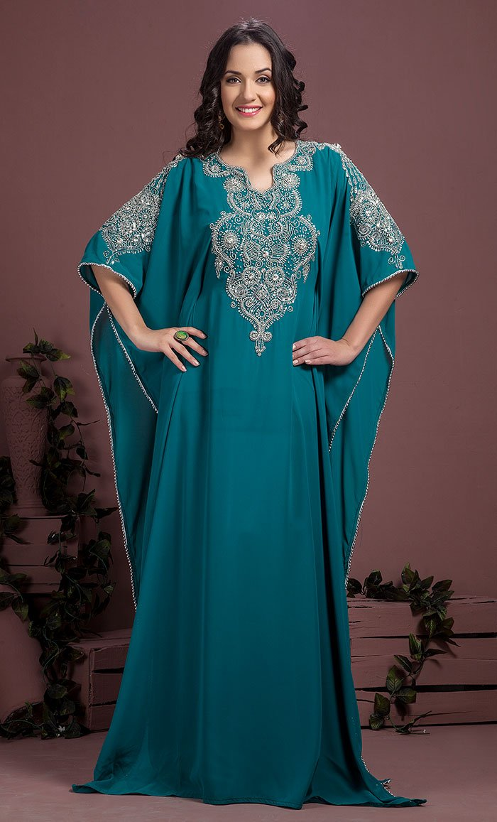 f2a7b2a79e053 Party Wear Maxi Kaftan-Georgette Kaftan-Final Sale_As Pictured_Front_View