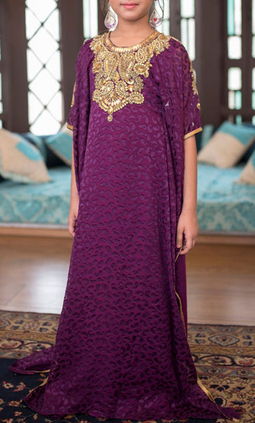 Violet Designer Kids Kaftan - Final Sale Item_Front_View