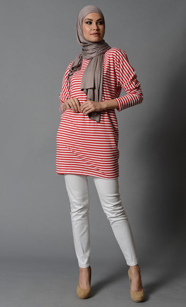 Modest Classic Red & White Striped Lycra T shirt-Final Sale_As Pictured_Front_View