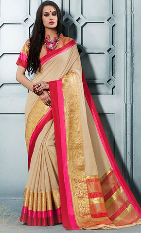 Beige Elegant Contrast Jacquard Weaving Border With Jari - Final Sale_Front_View