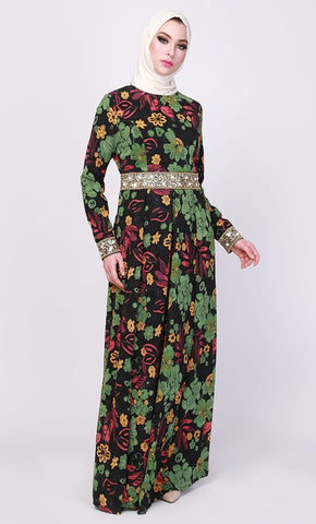 Botanical Print Belted Embroidered Abaya