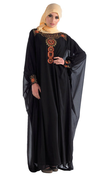 Slip On Designer Kaftan_Black_Front_View