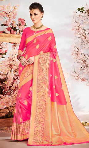 Traditional Jacquard Weaving Designer Pink Saree_Front_View