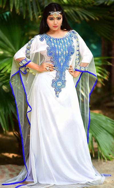 Gorgeous White Color Embroidered Net Kaftan Dress-Free Size-Final Sale_As Pictured_Front_View