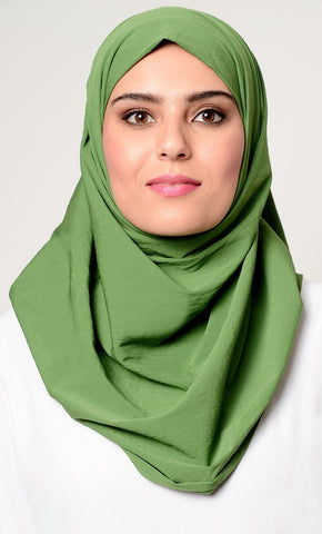 Solid green hijab_As Pictured_Front_View