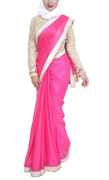 Pakeezah Everyday Pink Georgette Saree - Final Sale Item_As pictured_Front_View
