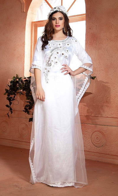 White color Ribbon work Handmade Design Farasha Kaftan-Final sale