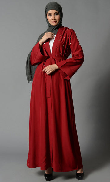 Fancy Pearl Detail Bisht with Fabric Tie -Maroon_Maroon(Out of Stock)_Front_View