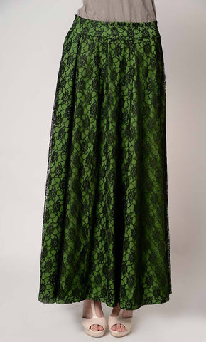 Long flared lace fully lined skirt_Kale_Front_View