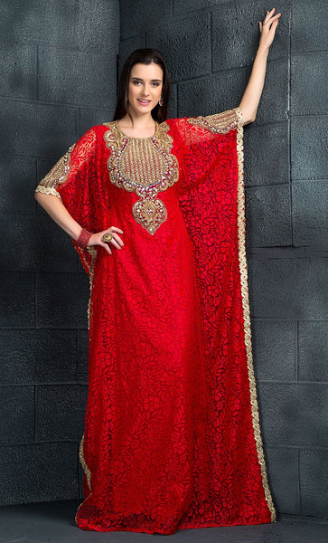 Red Color Kaftan-Other Kaftan- Final Sale_Front_View
