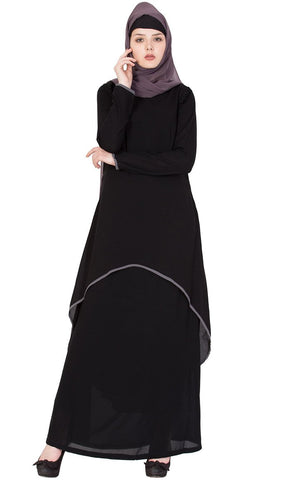 Curve hem layer Abaya-Final sale