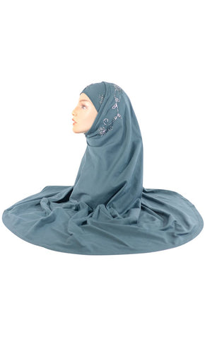 2 Piece Deep Green Al - Amirah Hijab_As Pictured_Front_View