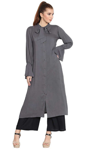 Manah bell sleeves long grey kurti-Final sale