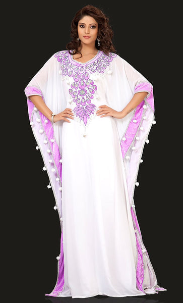 Smart White & Pink Color Designer Arabic Caftan Dress-Final Sale_As Pictured_Front_View