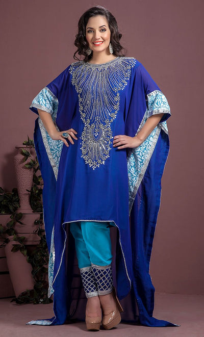 Blue Color Georgette party wear Kaftan-Final Sale_As Pictured_Front_View