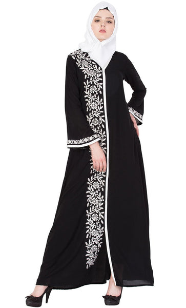 One side embroidered front open abaya-Final sale