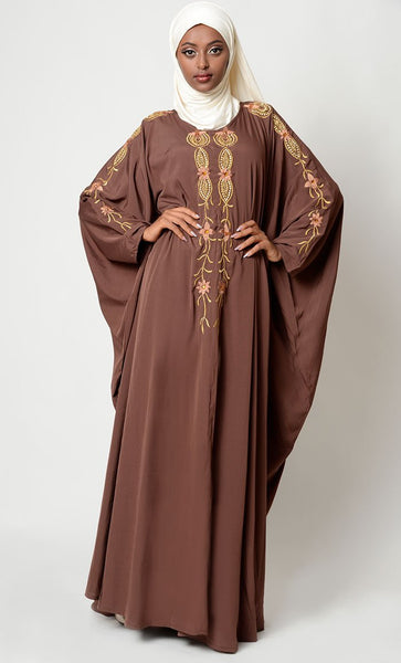 Embroidered Kaftan Abaya Eid Dress_As Pictured_Front_View