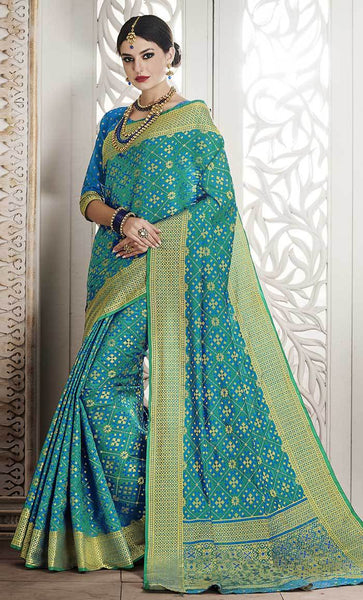 Geometric Jacquard Woven Design Sky Blue Saree-Final sale item_As Pictured_Front_View