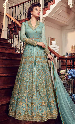 Traditional Jardoshi Work With Sequin Work & Crystal salwar kameez-Final sale