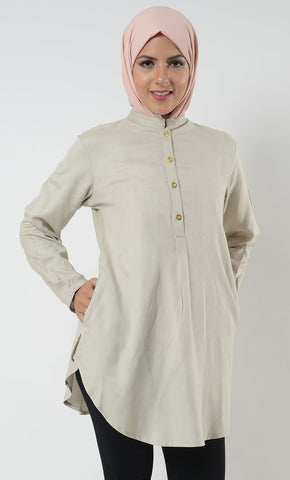 Rayon Gold Button School Tunic_Pastel Green(Out of Stock)_Front_View