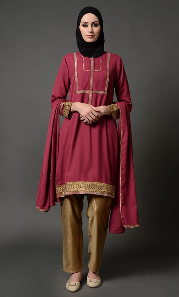Neck Embroidered Maroon Salwaar Kameez with Golden Trouser_Paprika Red_Front_View