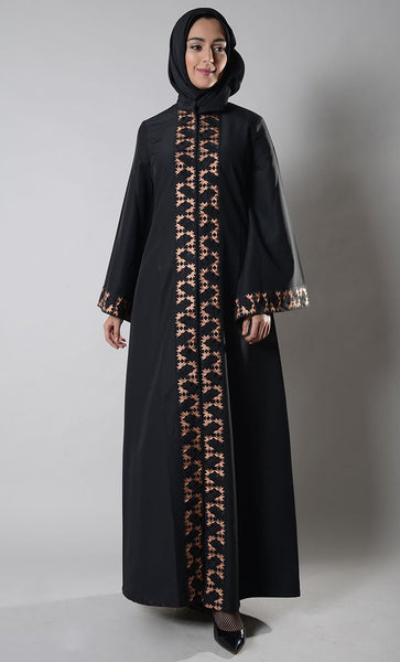 Mona Front Open  Embroidered Jilbab_As Pictured_Front_View