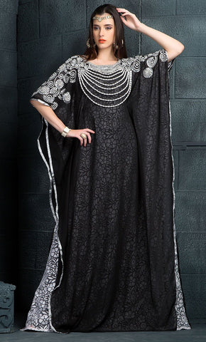 Black & White Color Kaftan-Georgette Kaftan-Final Sale_As Pictured_Front_View