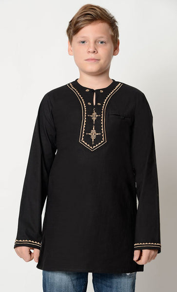 Embroidered neck cotton Tunic_Black_Front_View