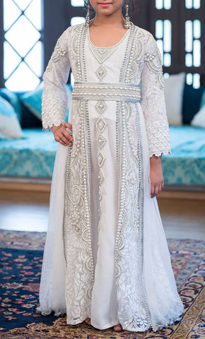 Designer Handmade White Arabic Moroccan Long Sleeve Caftan For Kids- Final Sale_Front_View