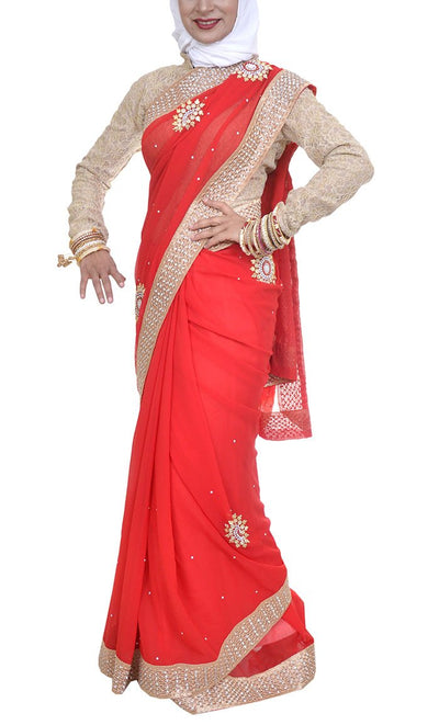 Pakeezah Everyday Red Georgette Saree - Final Sale Item_As pictured_Front_View