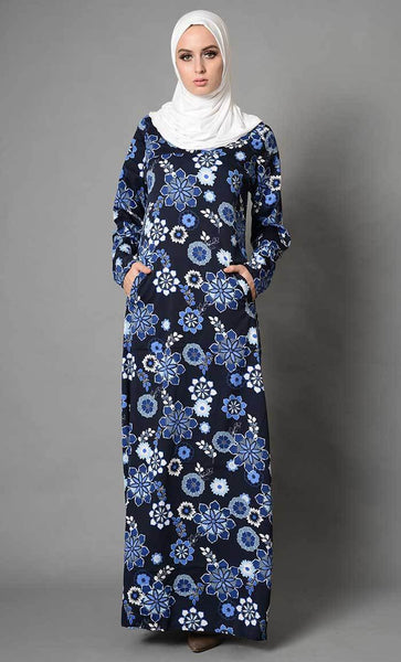Floral Printed Crepe Abaya_As Pictured_Front_View