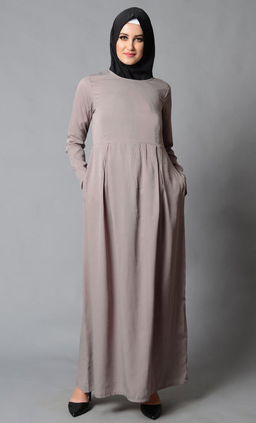Plain Rayon Abaya_Light Brown_Front_View