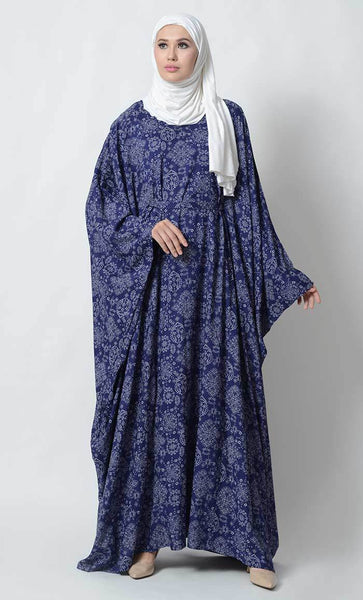 Kaftan printed rayon abaya dress_Neon Blue_Front_View