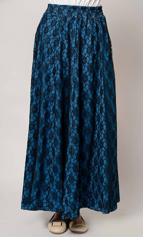 Floral Lace long flared skirt_Yale_Front_View
