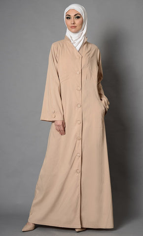 Beige Denim Coat Front Open Jilbab_As Pictured_Front_View