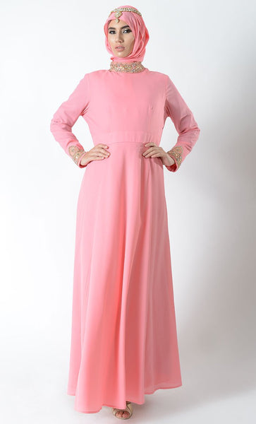 Jeweled Neck Flared skirt Eid Abaya+Hijab_Light Pink_Front_View
