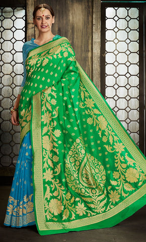 Green & Blue Traditional Allover Jacquard Weaving Design Saree - Final Sale Item_Front_View