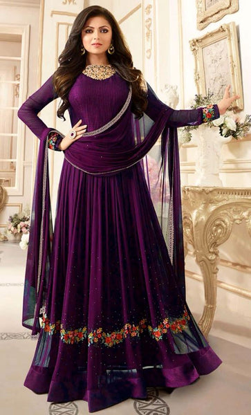Floral Embroidered and sequins Georgette Suit_Purple_Front_View