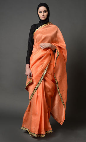 Orange Designer Saree_As pictured_Front_View