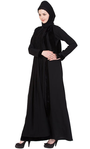 Designer abaya with pleated georgette layer dress-Final sale