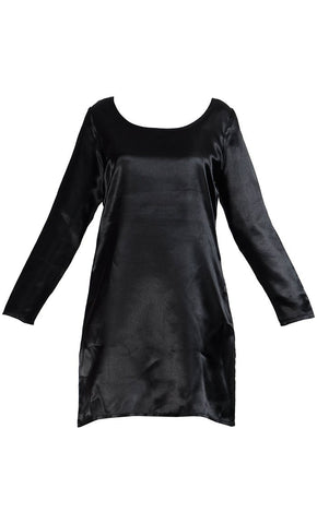 Long Sleeve Satin Under Dress Slip Top- Long Length - Final Sale_Black_Front_View