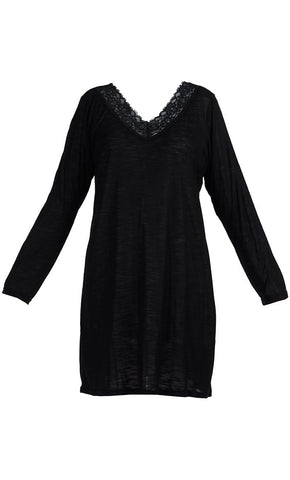 Lace Long Sleeve Viscose Knit Under Dress Slip Top- Long Length - Final Sale_Black_Front_View