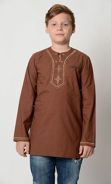 Cotton Embroidered neck Tunic_As Pictured_Front_View