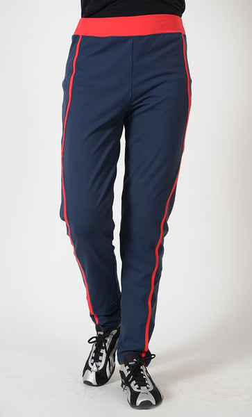 Red Accent Activewear Sport Pants_Navy_Front_View