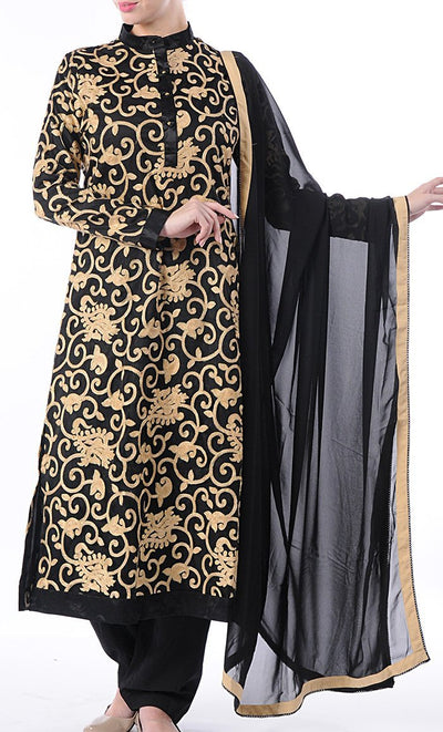 Black and Gold Salwar Kameez Set
